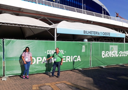 Dias e Elisa tiveram reunião com os representantes da Conmebol e da empresa