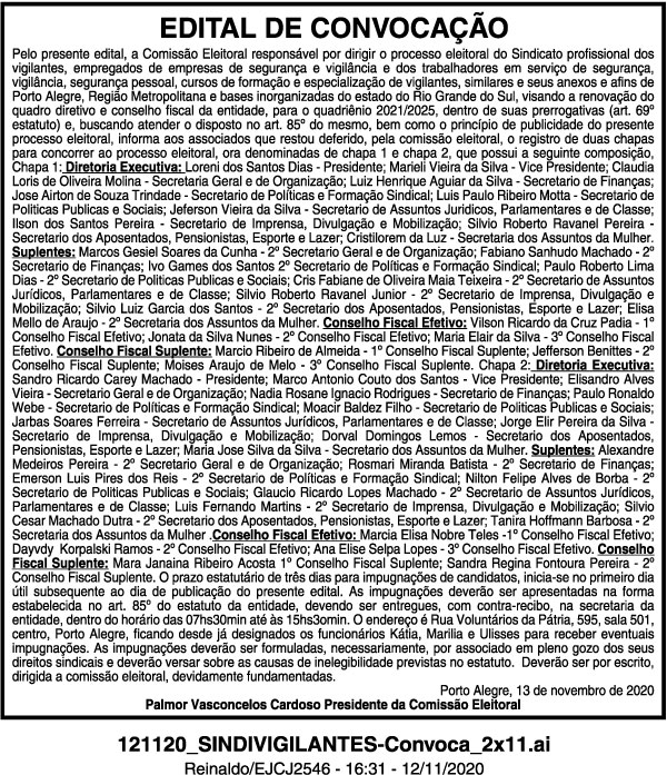 Edital foi publicado nos jornais Correio do Povo e Jornal do Comércio
